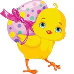 Аватар Желтый цыпленок несет на спине пасхальное яйцо, перевязанное бантом