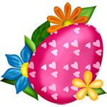 Аватар Розовое с белыми сердечками пасхальное яйцо в обрамление цветов
