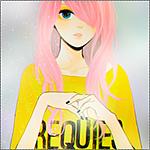 Аватар Vocaloid Megurine Luka / Вокалоид Мегуринэ Лука с длинной челкой на бок, закрывающей один глаз, в желтой майке с надписью