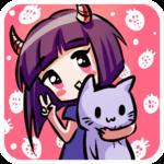 Аватар Милая девочка с рожками на розовом фоне с клубничкой обнимает фиолетового игрушечного котика и показывает два пальца
