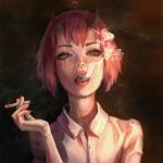 Аватар Девушка с розовыми волосами и рожками в белой рубашке держит в руке сигарету и выдыхает дым