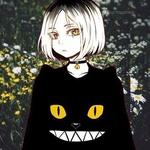 Аватар Кэнма Козумэ / Kenma Kozume из манги Волейбол! / Haikyuu! в черной кофте с ушками и мордочкой скалящегося котика с желтыми глазами, в ошейнике с шипами и колокольчиком, на фоне поляны с ромашками и желтыми цветами