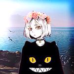Аватар Кэнма Козумэ / Kenma Kozume из манги Волейбол! / Haikyuu! в черной кофте с ушками и мордочкой скалящегося котика с желтыми глазами, в ошейнике с шипами и колокольчиком, и в венке из роз, на фоне моря с чайками