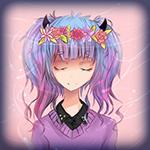 99px.ru аватар Девушка с розово-голубыми волосами, с рожками, в цветочном венке, мило улыбается прикрыв глаза / pastel dreams by headphonemonster