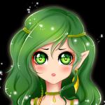 Аватар Эльфийка с зеленым цветом волос и глаз на черном фоне