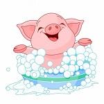 Аватар Счастлива розовая свинка плещется в тазике с пеной