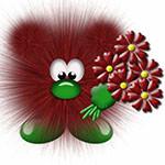 Аватар Коричневый пушистик с букетом цветов