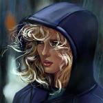 Аватар Девушка со светлыми кудрявыми волосами в синем капюшоне