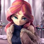 Аватар Девушка с розовыми волосами в свитере и куртке