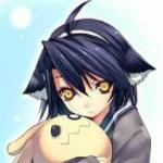 Аватар Неко девушка с фиолетовыми волосами и желтыми глазами обнимает игрушечного кролика