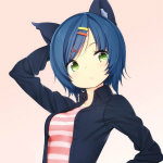 99px.ru аватар Неко девушка с синими волосами и зелеными глазами держит руку за головой
