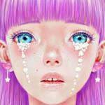 Аватар Девушка с сиреневыми волосами, голубыми глазами со следами слез на щеках