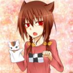 Аватар Неко девушка с коричневыми волосами держит тряпичную куклу в виде котика