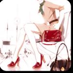 Аватар Девушка с красной сумочкой и в красных туфлях сидит на стуле