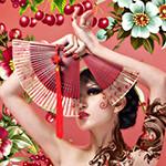 Аватар Девушка с веером на фоне ягод вишни и цветов
