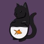 99px.ru аватар Черный кот с золотой рыбкой плавающей в животе