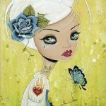 99px.ru аватар Девушка с белыми волосами и голубой розой на фоне природы, рядом летает бабочка, by Mark Ryden