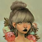 Аватар Девушка со светлыми волосами, черными губами, сережкой в носу среди цветов