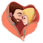 Аватар Парень с девушкой завернуты в плед в виде сердечка, by Pernille Ørum
