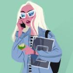 Аватар Девушка со светлыми волосами, в очках, разговаривает по телефону и держит в руке книгу и яблоко, by Pernille Ørum