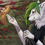 Аватар Белый волк с зеленым локоном на голове держит птичку лапами в виде человеческих рук