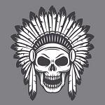 Аватар Человеческий череп в индейском головном уборе из перьев