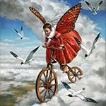 Аватар Девушка с крыльями бабочки едет на велосипеде по облакам среди летающих чаек