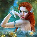 Аватар Девушка с голубым цветком в рыжих волосах стоит в воде