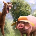 Аватар Смеющийся осел стоит рядом с поросенком в шляпе, by JeremyNorton