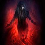 Аватар Девушка стоит в огне