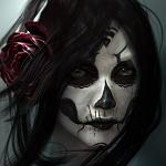 Аватар Девушка с красной розой в волосах и разрисованным лицом в виде черепа