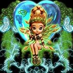 Аватар Девушка куколка на фоне сердечка и бабочек