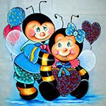 Аватар Две пчелки, пчелка мальчик с воздушными шариками, пчелка девочка с голубым бантом на голове, с сердечком в лапках