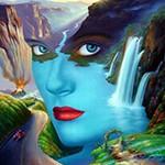Аватар Лицо девушки на фоне водопада, гор и дороги