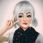 Аватар Девушка держит руку у лица