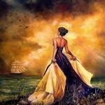 Аватар Девушка в длинном платье стоит у моря, встречая парусник, художница Iovka Mechkarova