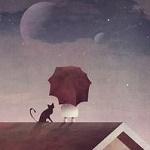 Аватар Девочка с зонтом и рядом черный кот на крыше