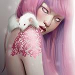 Аватар Девушка с тату на плече и белой крысой, by Marta G. Villena