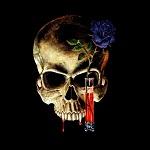 Аватар Череп и синяя роза в вазе с кровью на черном фоне