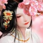Аватар Девушка азиатской внешности стоит у весенней цветущей ветки, by Fuyunanzi