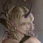 Аватар Эльфийская девушка с рогом