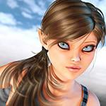 Аватар Девушка-эльф с волосами, собранными в хвост с серыми глазами на фоне неба