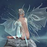 Аватар Девушка-эльф сидит на камне к нам спиной