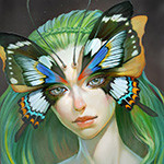 Аватар Девушка с зелеными волосами в маске бабочки