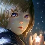 Аватар Мальчик со звездой в руках на фоне падающего снега