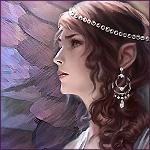 Аватар Профиль девушки - эльфийки на фоне сиреневых нарисованных перьев