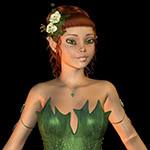 Аватар Рыжеволосая девушка-эльф с белыми цветами в волосах в зеленой одежде