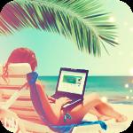 99px.ru аватар Девушка с ноутбуком в шезлонге под пальмой на морском пляже