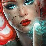 Аватар Девушка с яркими волосами держит перед собой палец, by menghua fang