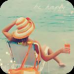Аватар Девушка сидит в шезлонге, держа в руке стакан с напитком, на фоне моря